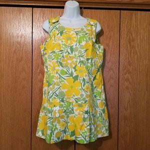 Vintage 60s Floral Mod Skirted Romper Medium